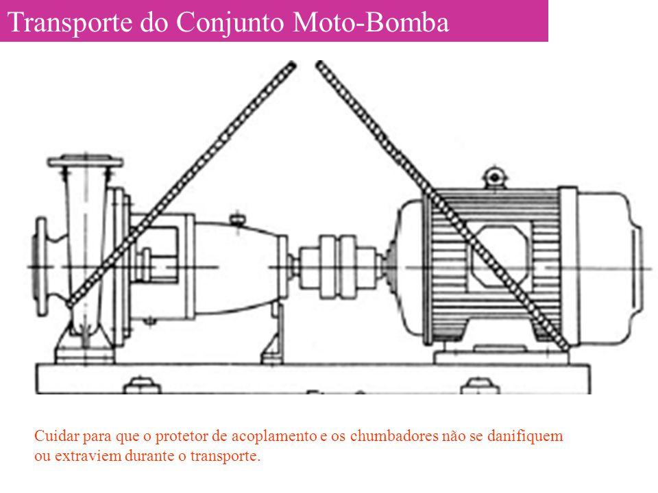 Transporte do Conjunto Moto-Bomba Cuidar para que o protetor de acoplamento e os chumbadores não se danifiquem ou extraviem durante o transporte.