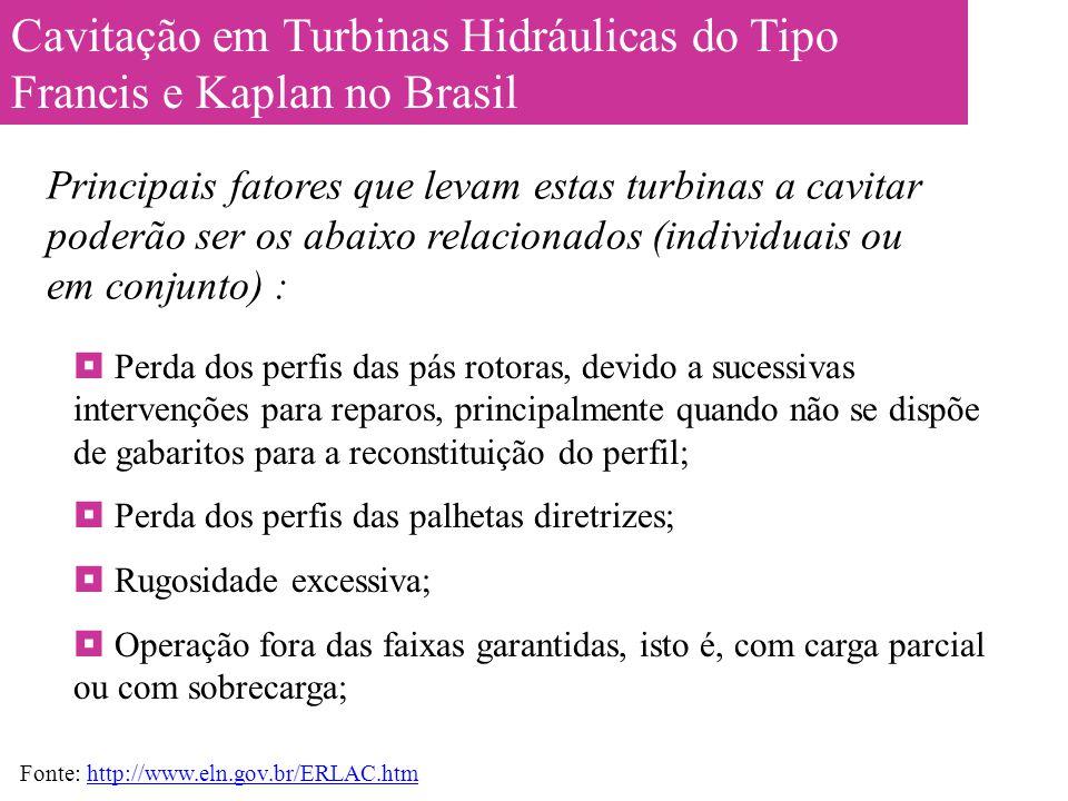 Cavitação em Turbinas Hidráulicas do Tipo Francis e Kaplan no Brasil  Perda dos perfis das pás rotoras, devido a sucessivas intervenções para reparos