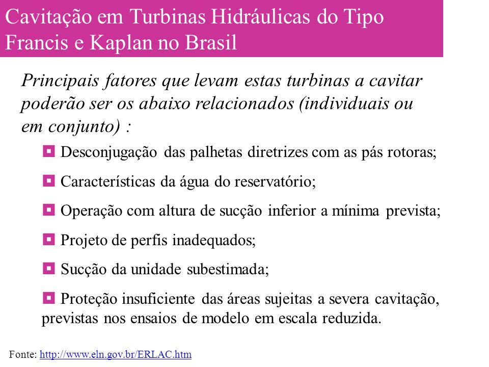 Cavitação em Turbinas Hidráulicas do Tipo Francis e Kaplan no Brasil  Desconjugação das palhetas diretrizes com as pás rotoras;  Características da