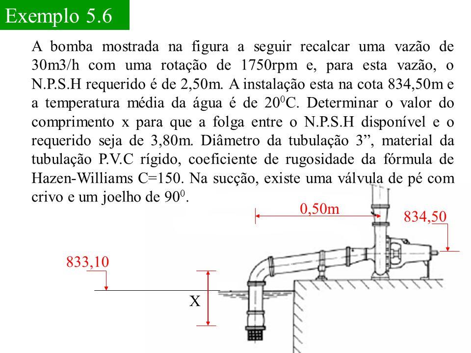 Exemplo 5.6 A bomba mostrada na figura a seguir recalcar uma vazão de 30m3/h com uma rotação de 1750rpm e, para esta vazão, o N.P.S.H requerido é de 2
