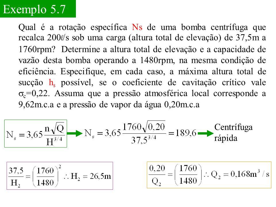 Exemplo 5.7 Qual é a rotação específica Ns de uma bomba centrífuga que recalca 200 l /s sob uma carga (altura total de elevação) de 37,5m a 1760rpm? D