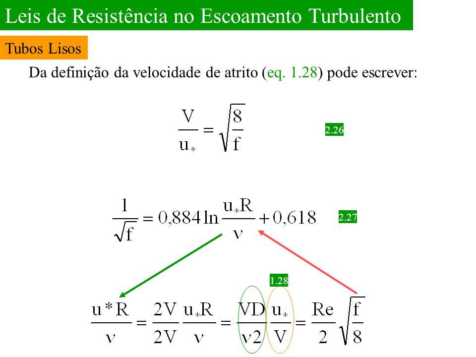 Leis de Resistência no Escoamento Turbulento Da definição da velocidade de atrito (eq. 1.28) pode escrever: 2.26 2.27 1.28 Tubos Lisos
