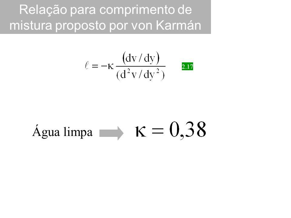 Relação para comprimento de mistura proposto por von Karmán 2.17 Água limpa