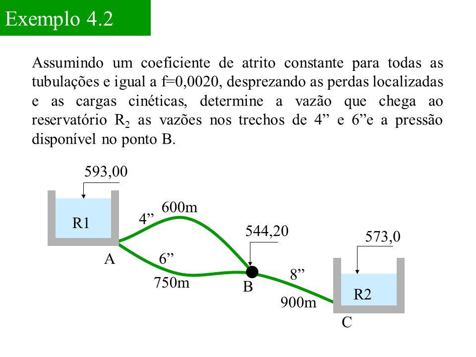 """Exemplo 4.2 593,00 573,0 A C 750m 600m 4"""" 900m R1 R2 6"""" 544,20 8"""" B Assumindo um coeficiente de atrito constante para todas as tubulações e igual a f="""
