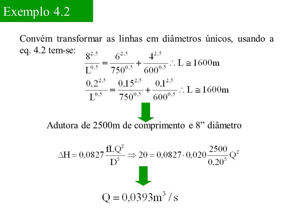 """Exemplo 4.2 Convém transformar as linhas em diâmetros únicos, usando a eq. 4.2 tem-se: Adutora de 2500m de comprimento e 8"""" diâmetro"""