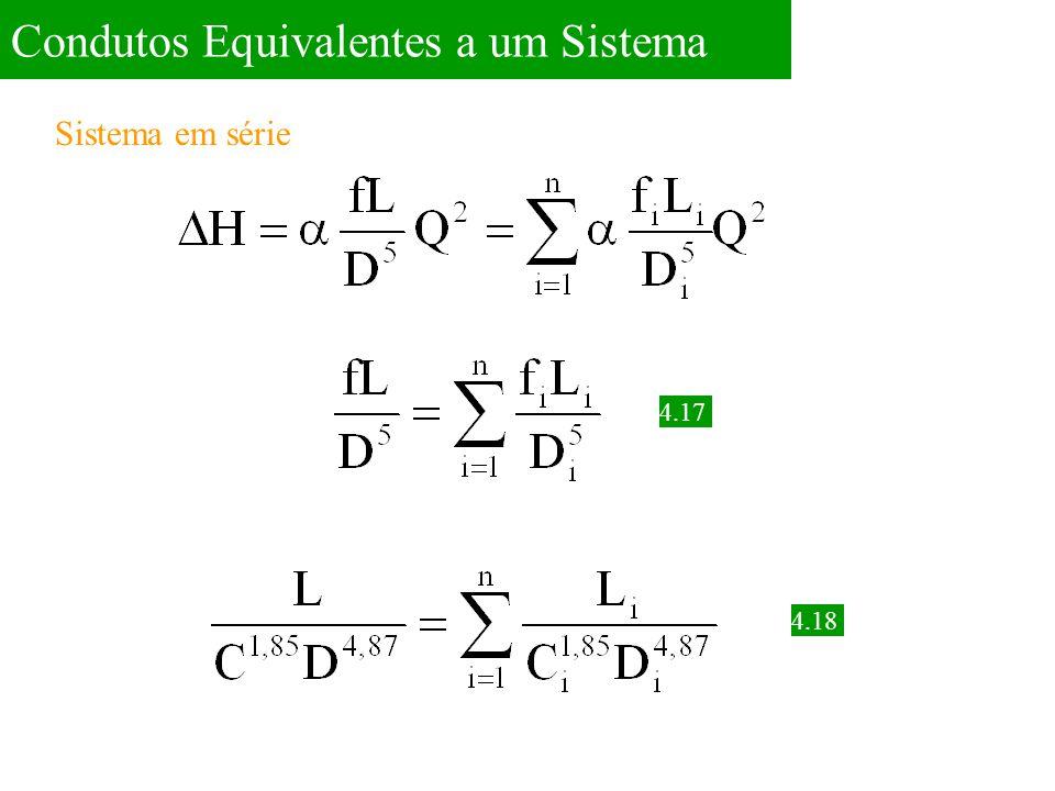 Problema 4.1 Um sistema de distribuição de água é feito por uma adutora com um trecho de 1500m de comprimento e 150mm de diâmetro, seguido por outro trecho de 900m de comprimento e 100mm de diâmetro, ambos com o mesmo fator de atrito f=0,028.