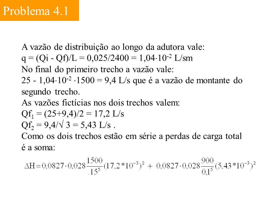 Problema 4.1 A vazão de distribuição ao longo da adutora vale: q = (Qi - Qf)/L = 0,025/2400 = 1,04  10 -2 L/sm No final do primeiro trecho a vazão va
