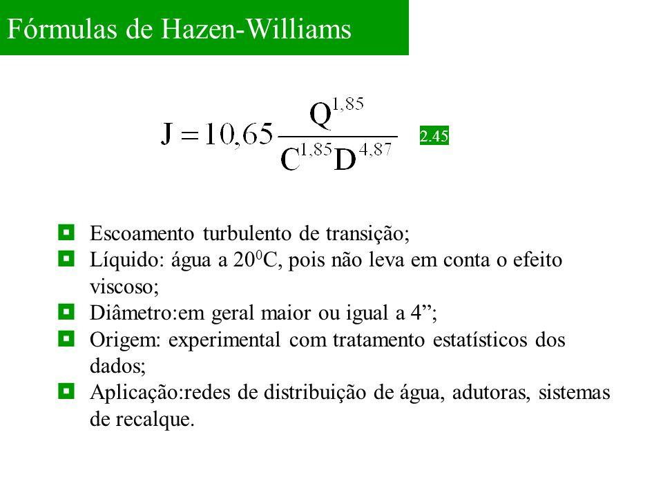 Fórmulas de Hazen-Williams 2.45  Escoamento turbulento de transição;  Líquido: água a 20 0 C, pois não leva em conta o efeito viscoso;  Diâmetro:em