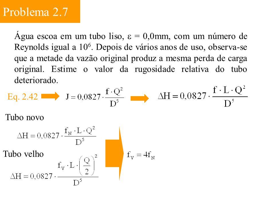 Problema 2.7 Água escoa em um tubo liso,  = 0,0mm, com um número de Reynolds igual a 10 6. Depois de vários anos de uso, observa-se que a metade da