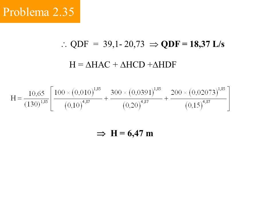 Problema 2.35  QDF = 39,1- 20,73  QDF = 18,37 L/s H =  HAC +  HCD +  HDF  H = 6,47 m