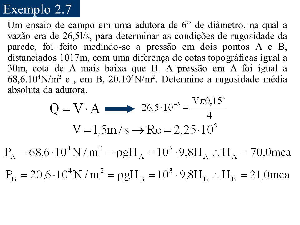 """Exemplo 2.7 Um ensaio de campo em uma adutora de 6"""" de diâmetro, na qual a vazão era de 26,5l/s, para determinar as condições de rugosidade da parede,"""