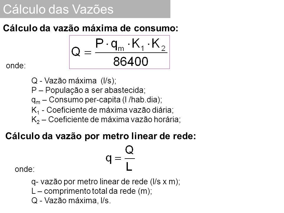 Cálculo das Vazões onde: Q - Vazão máxima (l/s); P – População a ser abastecida; q m – Consumo per-capita (l /hab.dia); K 1 - Coeficiente de máxima va