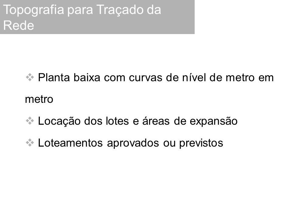  Planta baixa com curvas de nível de metro em metro  Locação dos lotes e áreas de expansão  Loteamentos aprovados ou previstos Topografia para Traç