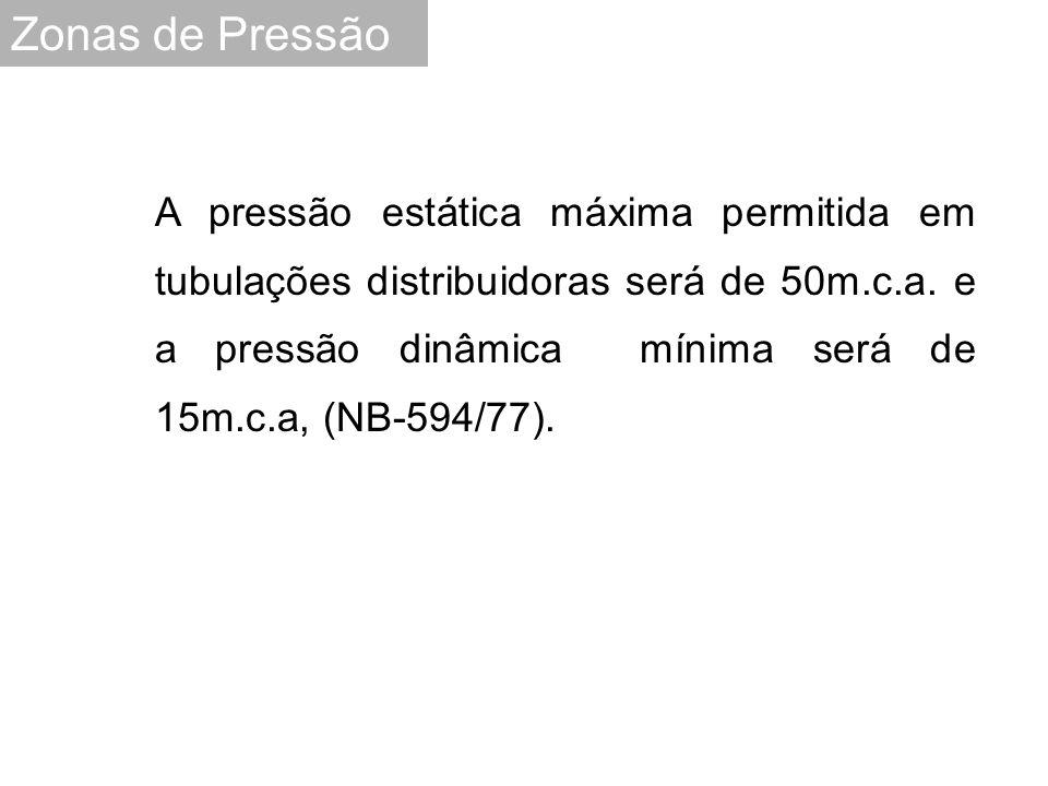 A pressão estática máxima permitida em tubulações distribuidoras será de 50m.c.a. e a pressão dinâmica mínima será de 15m.c.a, (NB-594/77). Zonas de P