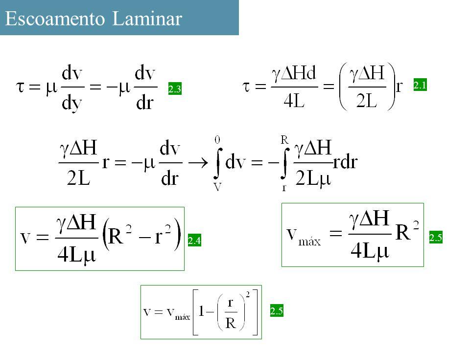 Escoamento Laminar 2.3 2.1 2.4 2.5