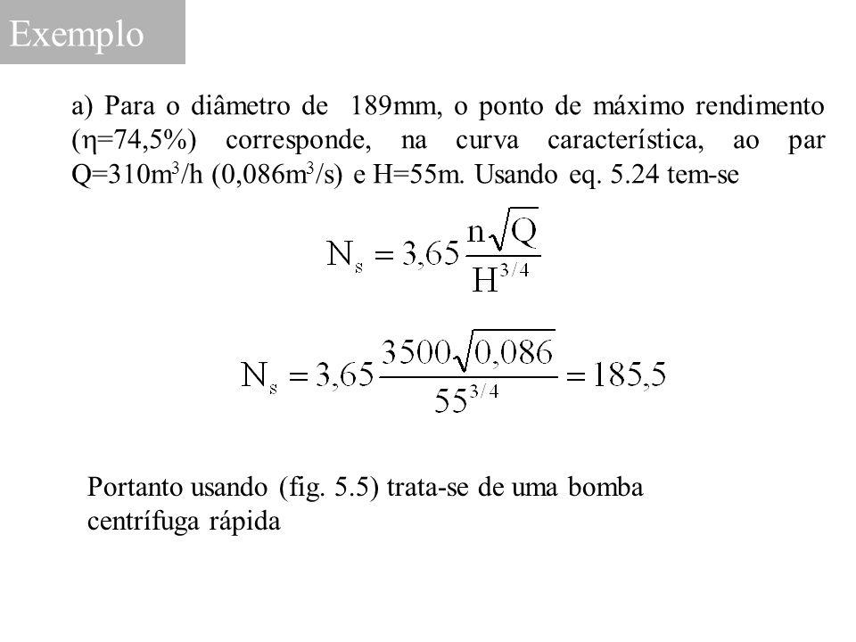 Exemplo a) Para o diâmetro de 189mm, o ponto de máximo rendimento (  =74,5%) corresponde, na curva característica, ao par Q=310m 3 /h (0,086m 3 /s) e