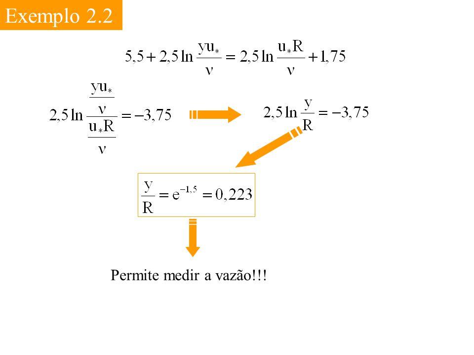 Exemplo 2.2 Permite medir a vazão!!!