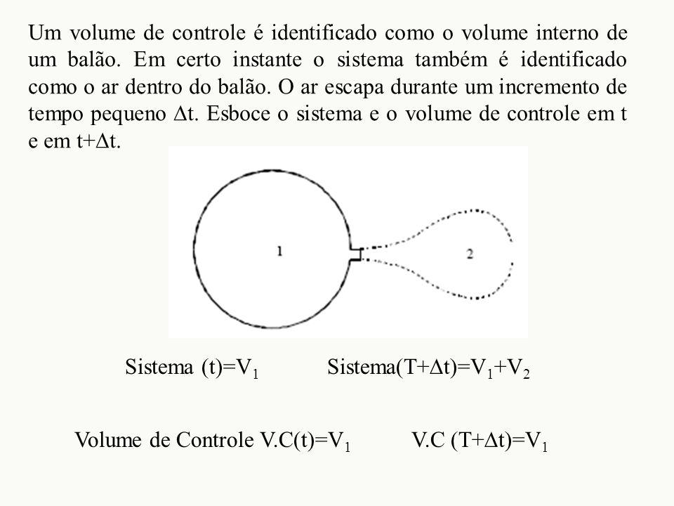 Um volume de controle é identificado como o volume interno de um balão. Em certo instante o sistema também é identificado como o ar dentro do balão. O