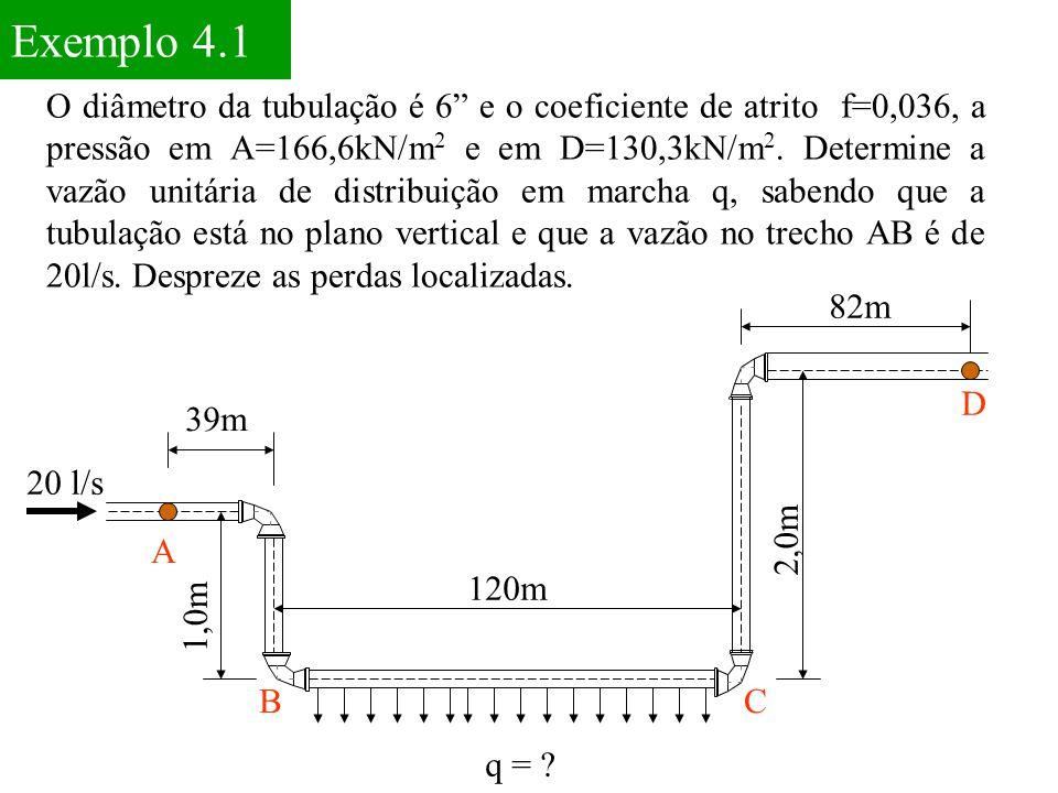 """Exemplo 4.1 20 l/s 39m 1,0m A 120m 2,0m 82m BC D q = ? O diâmetro da tubulação é 6"""" e o coeficiente de atrito f=0,036, a pressão em A=166,6kN/m 2 e em"""