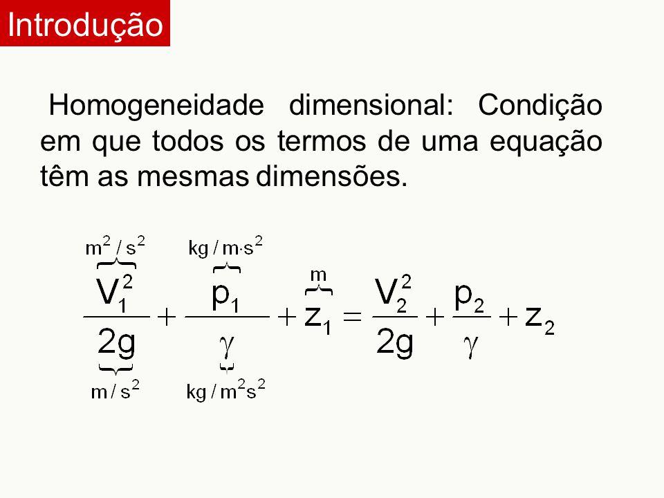 Homogeneidade dimensional: Condição em que todos os termos de uma equação têm as mesmas dimensões. Introdução
