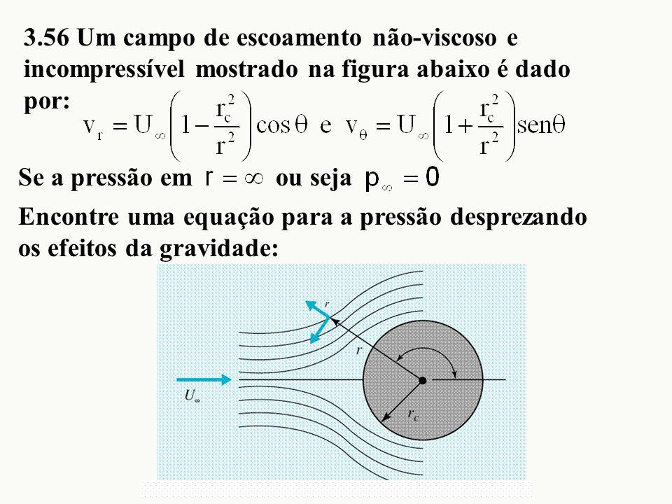 3.56 Um campo de escoamento não-viscoso e incompressível mostrado na figura abaixo é dado por: Se a pressão em Encontre uma equação para a pressão des