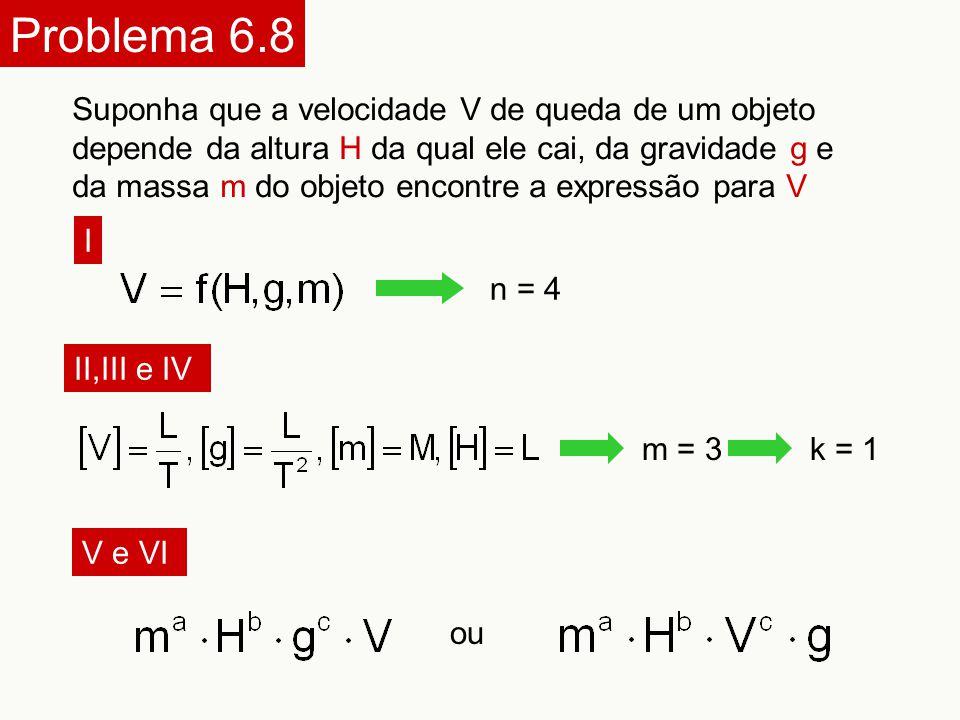 Problema 6.8 Suponha que a velocidade V de queda de um objeto depende da altura H da qual ele cai, da gravidade g e da massa m do objeto encontre a ex