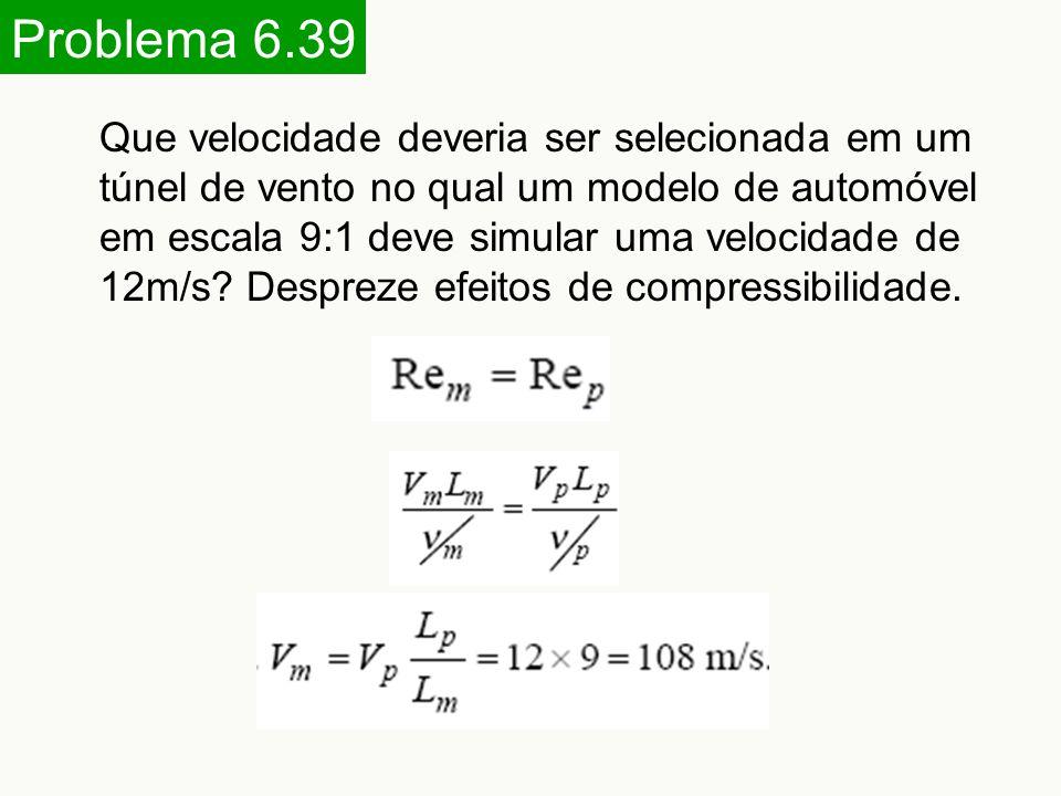Problema 6.39 Que velocidade deveria ser selecionada em um túnel de vento no qual um modelo de automóvel em escala 9:1 deve simular uma velocidade de