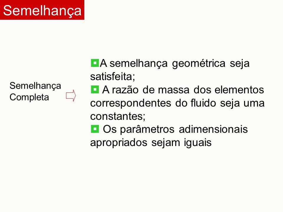 Semelhança Semelhança Completa  A semelhança geométrica seja satisfeita;  A razão de massa dos elementos correspondentes do fluido seja uma constant