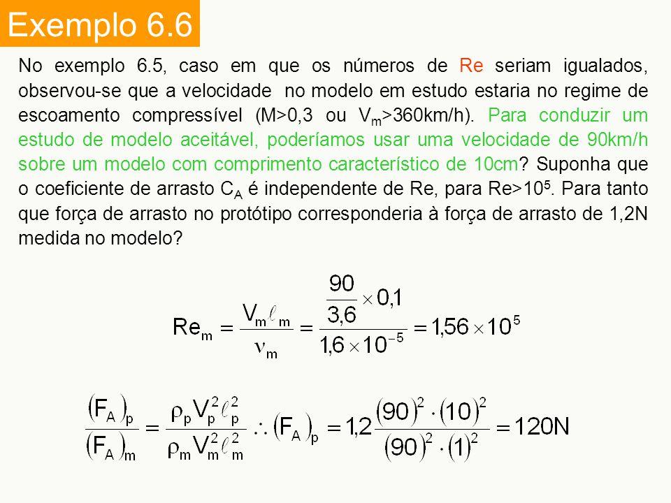 Exemplo 6.6 No exemplo 6.5, caso em que os números de Re seriam igualados, observou-se que a velocidade no modelo em estudo estaria no regime de escoa