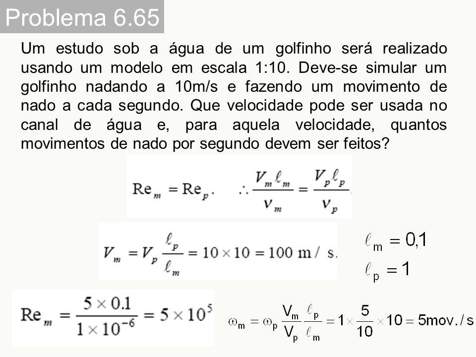 Problema 6.65 Um estudo sob a água de um golfinho será realizado usando um modelo em escala 1:10. Deve-se simular um golfinho nadando a 10m/s e fazend