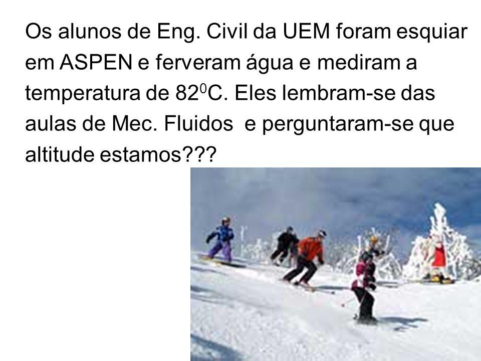 Os alunos de Eng. Civil da UEM foram esquiar em ASPEN e ferveram água e mediram a temperatura de 82 0 C. Eles lembram-se das aulas de Mec. Fluidos e p