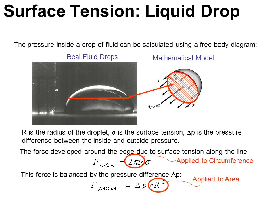 The pressure inside a drop of fluid can be calculated using a free-body diagram: Real Fluid Drops Mathematical Model R is the radius of the droplet, 