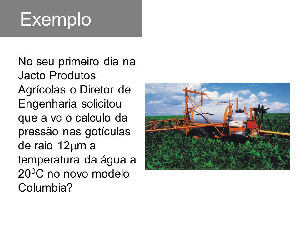 Exemplo No seu primeiro dia na Jacto Produtos Agrícolas o Diretor de Engenharia solicitou que a vc o calculo da pressão nas gotículas de raio 12  m a