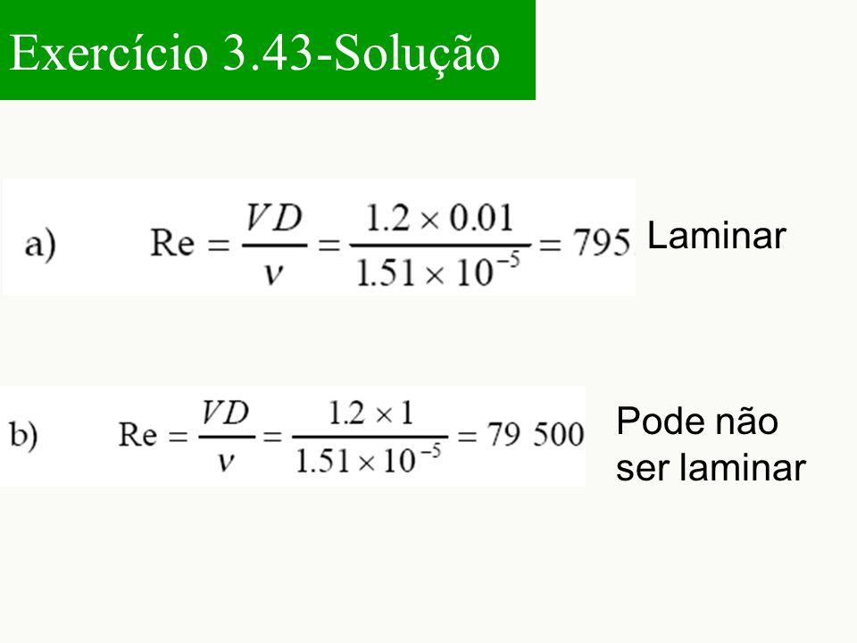Exercício 3.43-Solução Laminar Pode não ser laminar