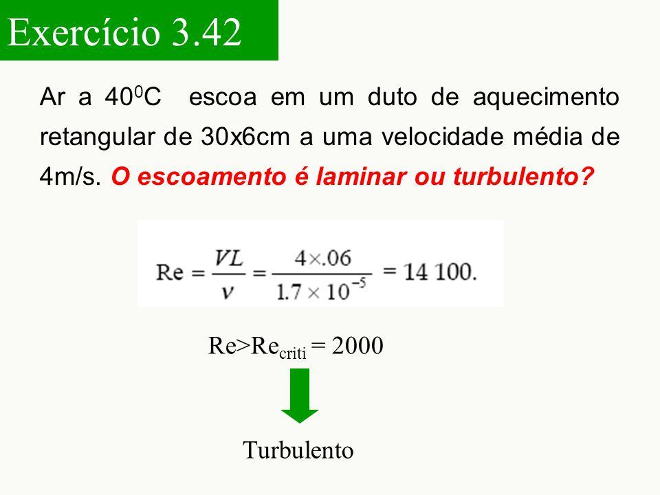 Ar a 40 0 C escoa em um duto de aquecimento retangular de 30x6cm a uma velocidade média de 4m/s.