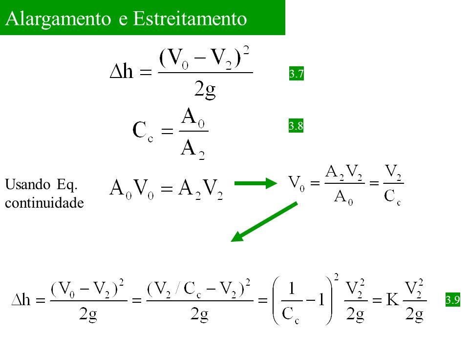 Alargamento e Estreitamento 3.7 3.8 Usando Eq. continuidade 3.9