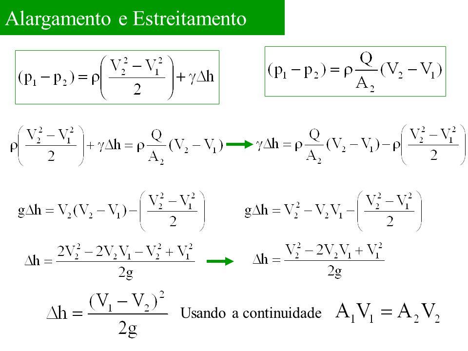 Exemplo 3.1 Tabela A2 V =1,95m/s Q =V*A= 0,033m 3 /s