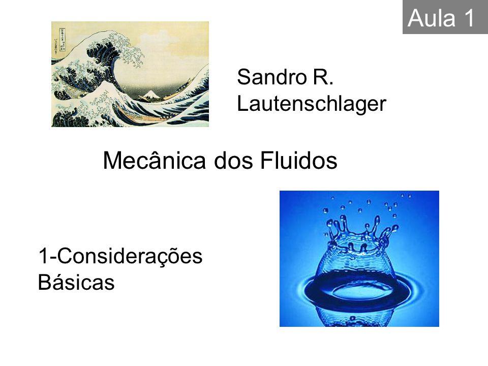 1-Considerações Básicas Sandro R. Lautenschlager Mecânica dos Fluidos Aula 1