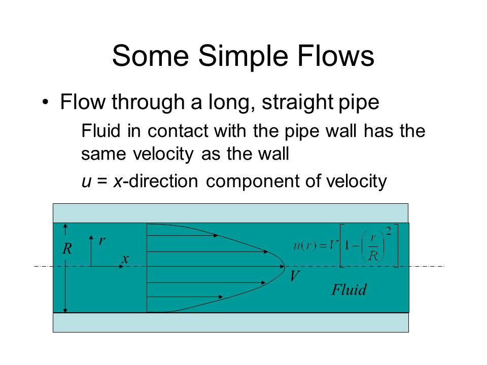 Some Simple Flows Flow through a long, straight pipe Fluid in contact with the pipe wall has the same velocity as the wall u = x-direction component o