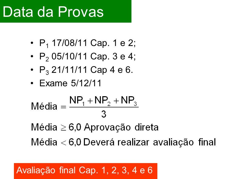 Data da Provas P 1 17/08/11 Cap.1 e 2; P 2 05/10/11 Cap.