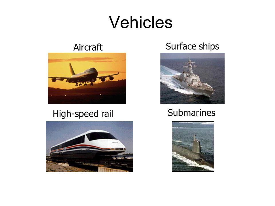 Vehicles Aircraft Submarines High-speed rail Surface ships