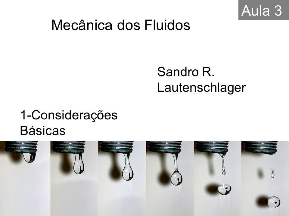 1-Considerações Básicas Sandro R. Lautenschlager Mecânica dos Fluidos Aula 3