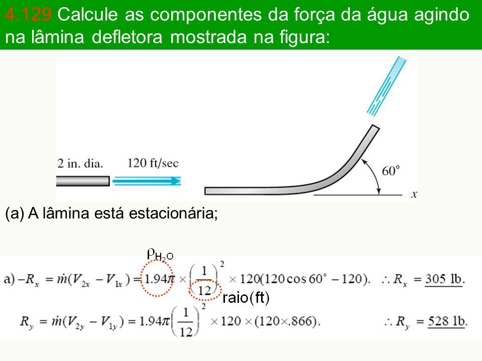 4.129 Calcule as componentes da força da água agindo na lâmina defletora mostrada na figura: (a) A lâmina está estacionária;