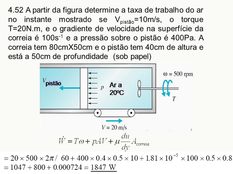 4.52 A partir da figura determine a taxa de trabalho do ar no instante mostrado se V pistão =10m/s, o torque T=20N.m, e o gradiente de velocidade na s