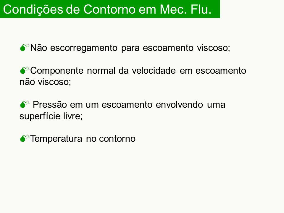 Condições de Contorno em Mec. Flu.  Não escorregamento para escoamento viscoso;  Componente normal da velocidade em escoamento não viscoso;  Pressã