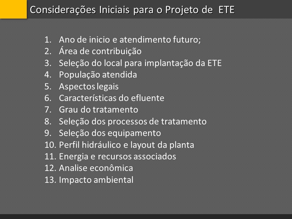 Considerações Iniciais para o Projeto de ETE 1.Ano de inicio e atendimento futuro; 2.Área de contribuição 3.Seleção do local para implantação da ETE 4