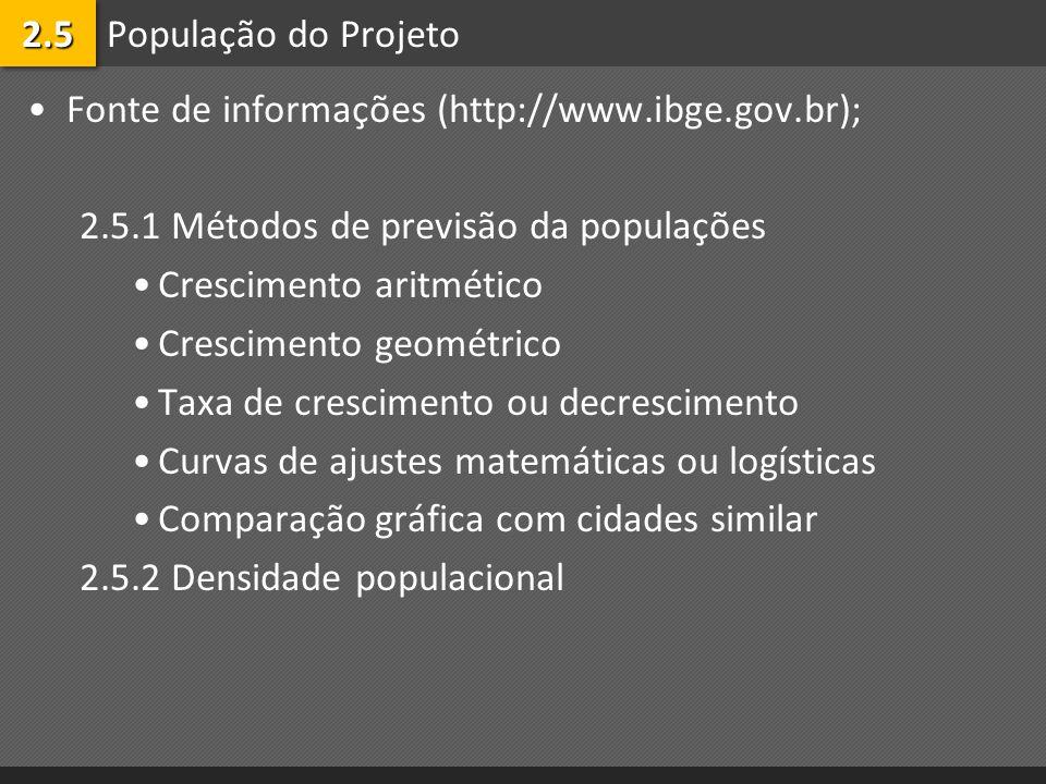 População do Projeto Fonte de informações (http://www.ibge.gov.br); 2.5.1 Métodos de previsão da populações Crescimento aritmético Crescimento geométr