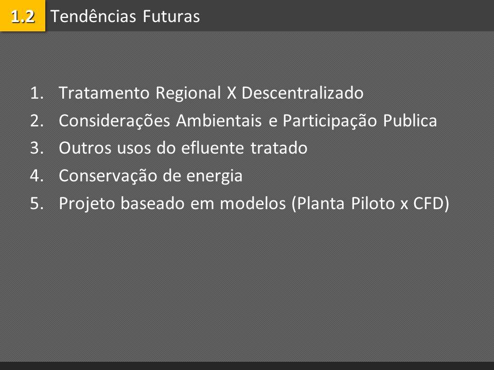 Tendências Futuras 1.Tratamento Regional X Descentralizado 2.Considerações Ambientais e Participação Publica 3.Outros usos do efluente tratado 4.Conse