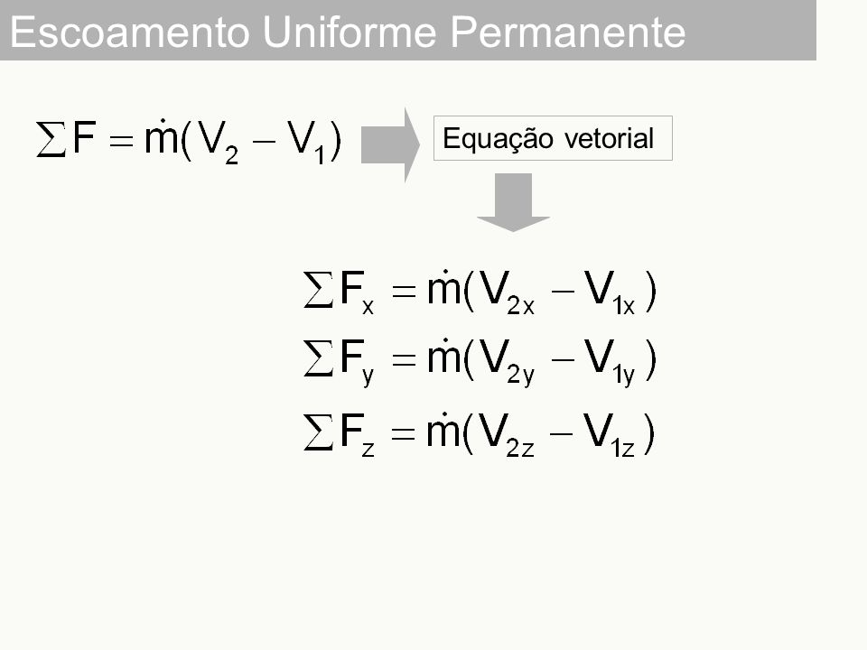 Escoamento Uniforme Permanente Equação vetorial