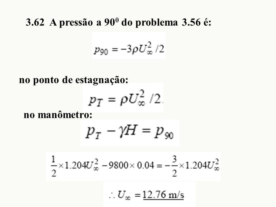 3.62 A pressão a 90 0 do problema 3.56 é: no ponto de estagnação: no manômetro: